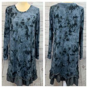 LOGO Lori Goldstein Sweater Knit Dress Chiffon Hem